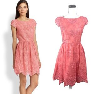 Alice + Olivia Zenden Scallop Lace Dress